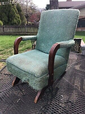 Vintage Mid Century Children's Upholstered Platform Rocker Rocking Child's Chair