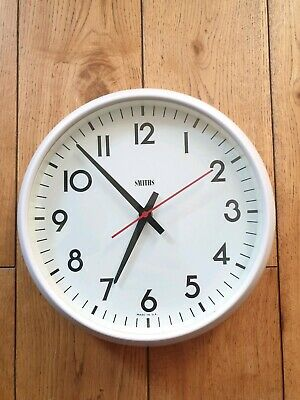 Vintage Retro Smiths White Wall Clock, Bakelite, Original, Electric