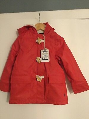 Striking Red Water Proof Fleece Lined Duffle Coat - Joules - BNWT - RRP £54.95