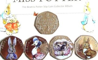 Beatrix Potter 2016 colour DECAL 50p COIN SET + Jemima Puddle duck 🐇