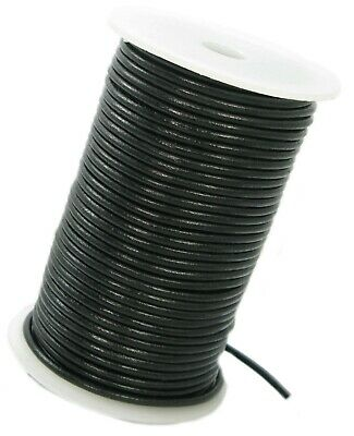 Black or Dark Brown leather cord lace 3 mm round