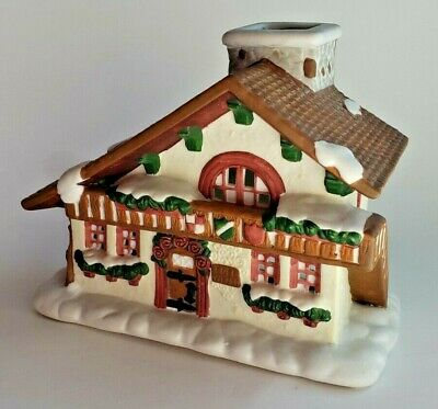 Edelweiss Swiss Chalet Ski Lodge Tealight Candle Holder Partylite P0308 Vtg
