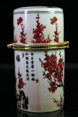 Decor Rare Auspicious Porcelain Paint Red Plum Full Bloom Fashion Toothpick Box