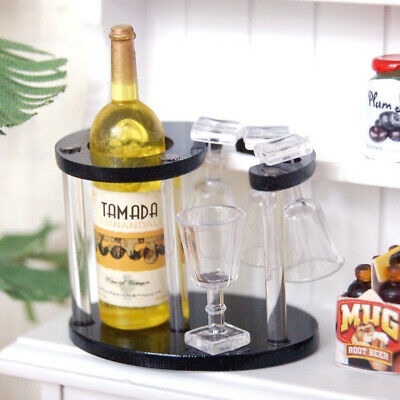 1/12 Dollhouse Miniatures Champagne Bottle Wine Rack Four Glass Cups Yellow