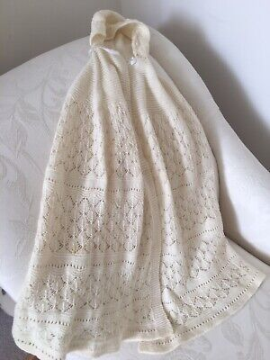 Vintage ? Stunning Hand Knitted Baby Shawl Christening Wrap With Hood Beautiful