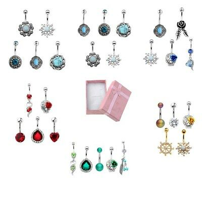 Stainless Steel Mixed Color Belly Button Navel Ring Body Piercing 5Pcs Jewelry
