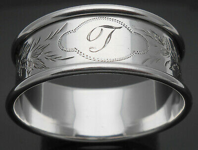 Lovely Antique Initial 't' Bright Cut Napkin Ring Sterling Silver 1897 Antique