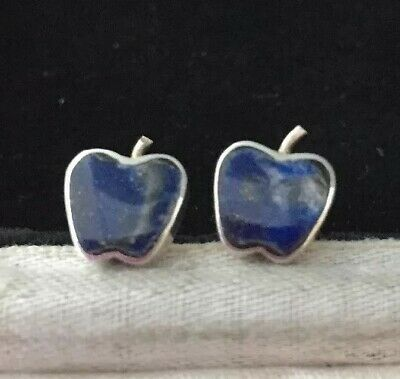 Vintage jewellery delightful sterling Silver and lapis lazuli Apple earrings