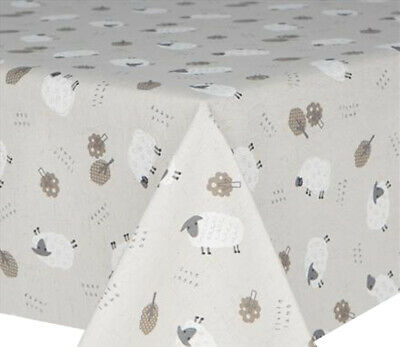 Acrylic Coated Table Cloth Baa Sheep Trees Grey Off White Linen Wipe Able Cover