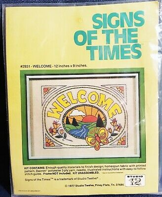 """Vintage Really Cool 1977 Studio 12 """"WELCOME"""" Crewel Kit - Signs of the Times"""