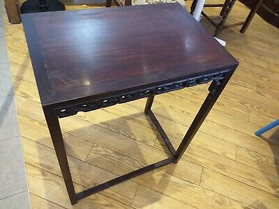 ANTIQUE Chinese hardwood rectangular side / hall/ occasional table carved detail