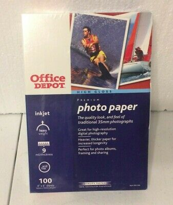 Office Depot Photo Paper 1 Pack 4X6 Ink Jet 100 Sheets Ea. Premium High Gloss