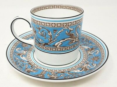 Wedgwood Turquoise Florentine W2714 Coffee Cup And Saucer Demitasse Can Exc