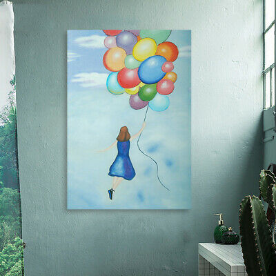 *Balloon Girl* Hand Painted Art Canvas Oil Painting Abstract Home Decor Framed