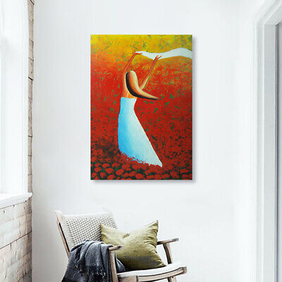 Hand Painted Oil Painting Framed Canvas Modern Art Wall Home Decor Pretty Girl