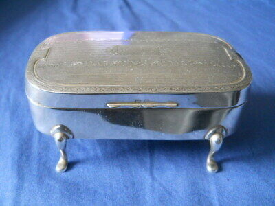 Antique/Vintage Birmingham Sterling Silver Footed Jewelry Box