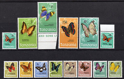 TANZANIA1973-79 BUTTERFLY DEFINITIVE PART SET 14 values FOURTEEN MNH Stamps.