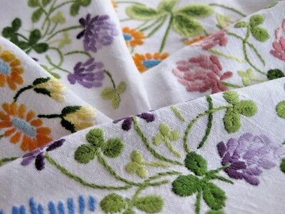 Large Vintage Hand Embroidered Table Cloth - Stunning Raised Embroidery