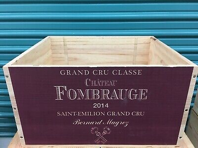 Wine Box Case Wooden Crate Holds 6/750ml Chateau Fombrauge Bordeaux 2014
