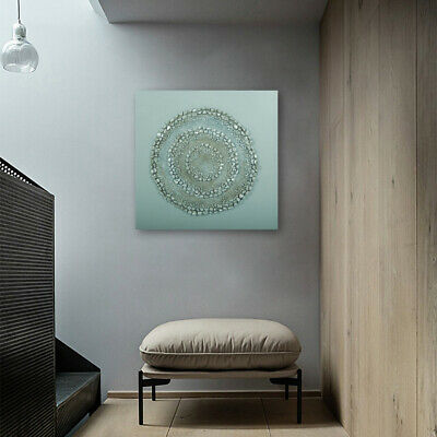 Modern Hand Painted Oil Painting On Canvas Wall Art Decor Framed Silver Circle