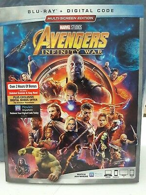 New - Marvel Avengers INFINITY WAR Blu-Ray and Digital Code - In Hand