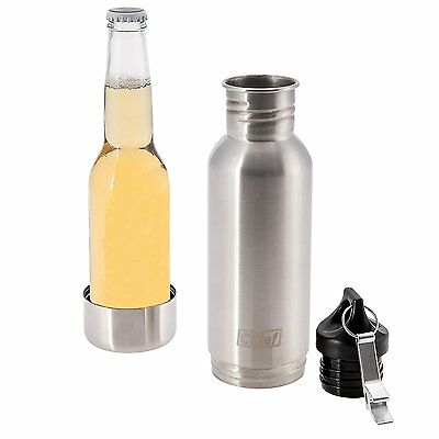 2 x Stainless Steel Beer Bottle Cooler Insulator + Two Insulated Bags