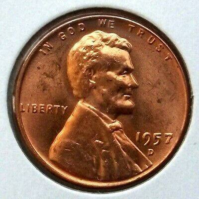 1957-D Lincoln Cent Wheat Penny US 1C Coin Denver Mint UNC High MS Cond. *LC47
