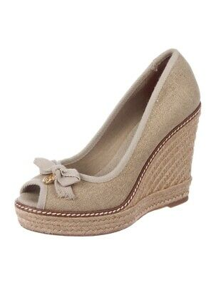 ede9fb91cc68 Tory Burch Size 9 Jackie Lace Espadrille Wedge Heel Peep Toe White Cream  Crochet
