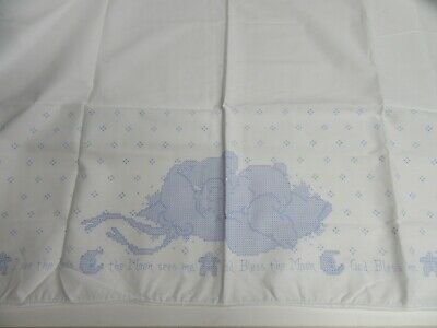 Stamped Cross Stitch Fabric Baby Blanket The Moon Sees Me God Bless Me 34x45