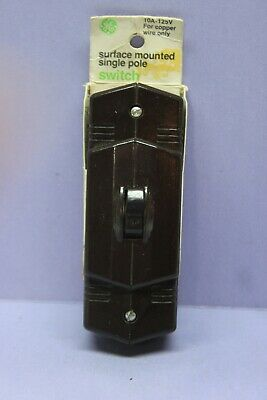 ✅ Vintage NEW GE Single-Pole Bakelite Surface Toggle Switch w Ground - Made USA