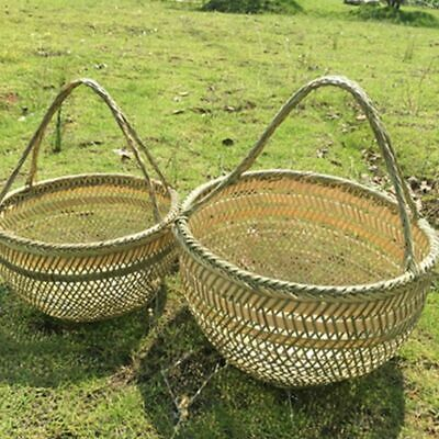 Straw Bamboo Storage Basket Picnic Garden Dining Food Container With Handle Tool