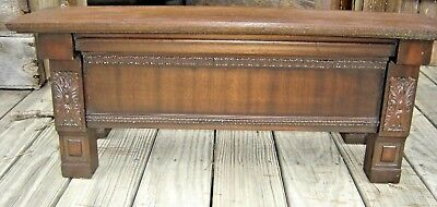 Antique Ornate Mahogany Shelf with applied carving with wood supports.    7727a