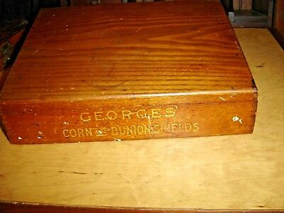 Antique Oak Country Store Display Box George's Corn & Bunion Shields 7669