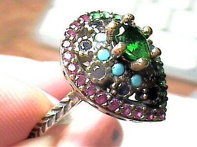 VINTAGE ANTIQUE RUBY emerald SILVER RING 8.5 MEDIEVAL NATURAL STERLING 925 small