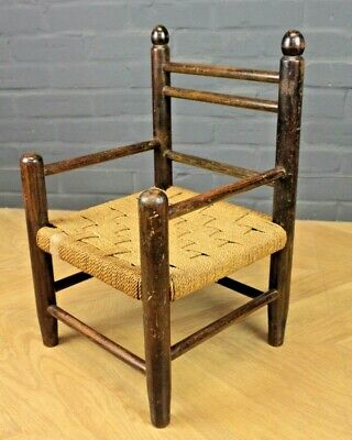 Antique Child's Beech & Rush Seated Chair ~Teddy Bear Chair ~ Shop Display Prop
