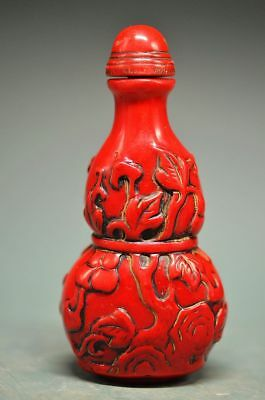 Fine Chinese Old Red Coral Resin Hand-Carved Gourd Shape Snuff Bottle