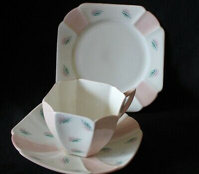 vintage SHELLEY England bone china trio cup saucer plate ALTERNATE pink panels