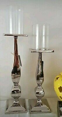 Set: 2 Elegant Large Silver Floor Metro Candlesticks with Glass Tops Home Decor