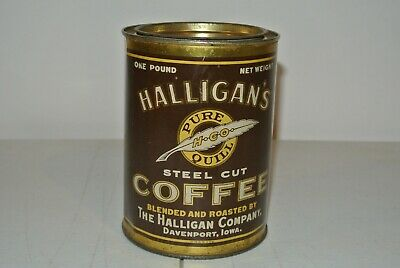 VERY RARE Antique Tin Litho Can HALLIGAN'S PURE QUILL COFFEE 1lb