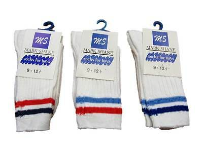 6 Pairs pack of Kids Boys White sport Trainer socks twin stripe red blue
