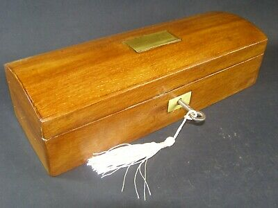 Antique Domed Mahogany Pen & Pencil Box Working Lock & Key c1890 Brass Center
