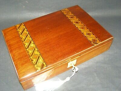 Antique Tunbridge Banded Document Box Working Lock & Key c1880  Writing Painting