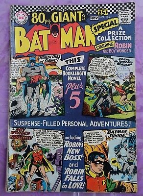 Dc Comic 80 Page Giant Batman # 185 - October 1966 Silver Age - Good Condition