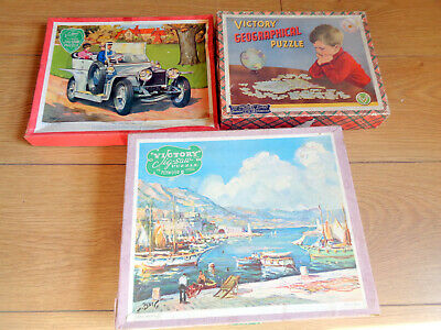 3 x Vintage Victory wooden jigsaw puzzles