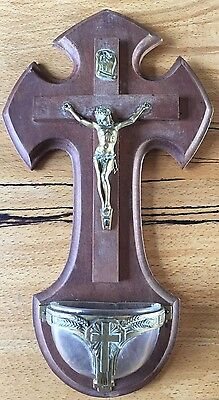 Vintage French Wooden Wall Crucifix Catholic France Glass Dish Brass Mounted