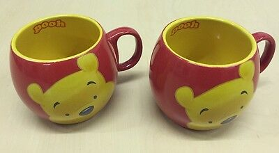 Pair Of Disney Winnie the Pooh Barrel Mug Excellent Condition Red Yellow