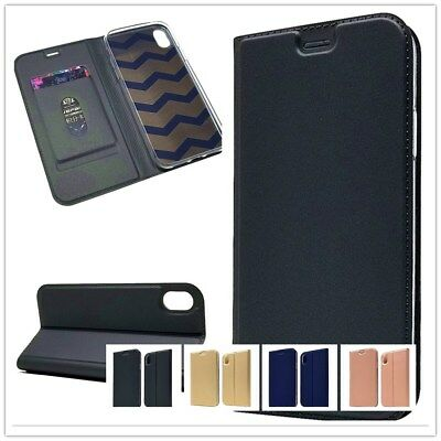 For iPhone X XS Max XR Magnetic Leather Card Wallet Case Stand Slim Flip Cover