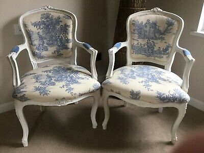 Pair Of Louis XV Style French Chairs Toile De Jouy Refurbished