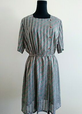 Vintage 60s 70s Japanese silver grey stripes Summer Dress square collar AU 8 10