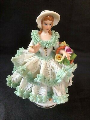 antique german porcelain. Dresden little green lady . Marked Bottom